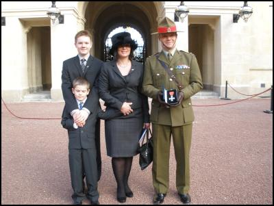 Lt Col Gillard with wife - Lucielle, and sons - Matthew 14 and Robbie 8.