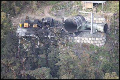 the vent area after the explosion on Friday 26 November at the Pike River mine, and show the vent intact