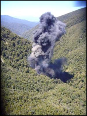 smoke billowing from the vent shaft vertical column after the pike river mine fourth explosion on Sunday 28 November