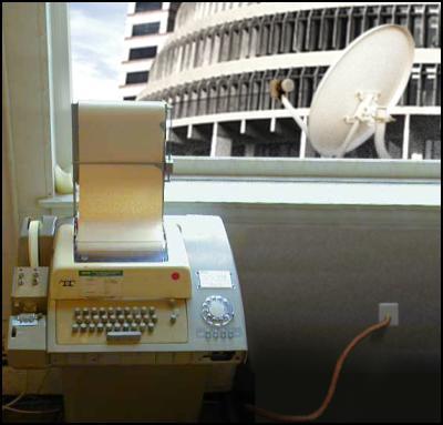 telext machine, satellite, aliens