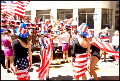 Wellington Sevens parade, sevens costumes, united states, America, statue of libery, flags