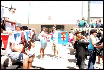 Wellington Sevens parade, sevens costumes, flags