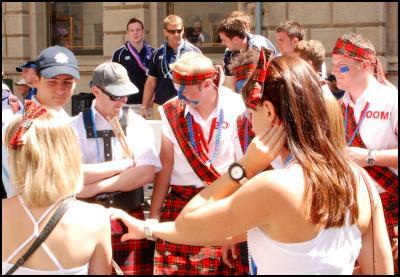 Wellington Sevens parade, sevens costumes, Scotland, kilt, tartan