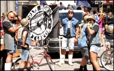 Wellington Sevens parade, sevens costumes, Crazy Horses Aotearoa, Bicycle gang