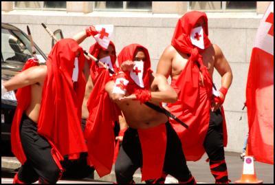 Wellington Sevens parade, sevens costumes, tongan ninjas