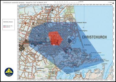 a map of the temporary restricted airspace around Christchurch City, effective as of 6am, 3 March 2011