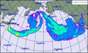 Projected spread of radioactivity - Fukushima