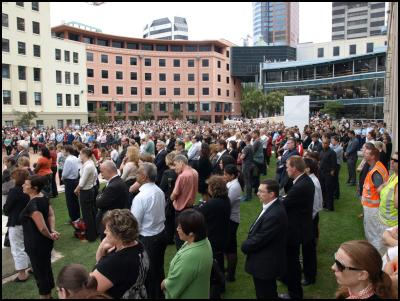 Christchurch earthquake vigil - Two minutes silence in Civic Square, Wellington