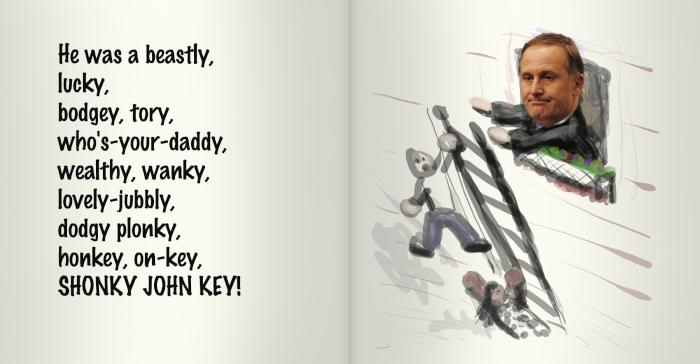 He was a beastly, lucky, bodgey, tory, who's-your-daddy, wealthy, wanky, lovely-jubbly, dodgy plonky, honky, on-key, shonky John key!