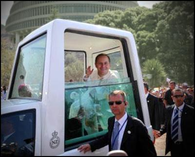 john key, popemobile