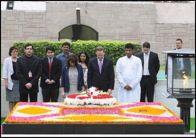The Prime Minister of New Zealand, Mr. John Key and his wife Mrs. Bronagh Key paying homage at the Samadhi of Mahatma Gandhi, at Rajghat, in Delhi on June 28, 2011. Photo credit:  PIB & Bharat-Darshan, Hindi magazine from New Zealand