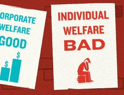 Corporate vs Individual welfare. Illustration by Tim Denee