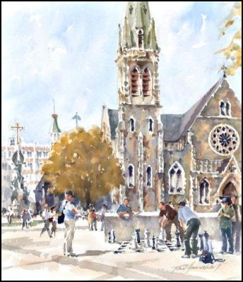 Paul Hanrahan – Chess, Christchurch Cathedral, watercolour