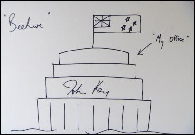john key doodle drawing beehive signed signature