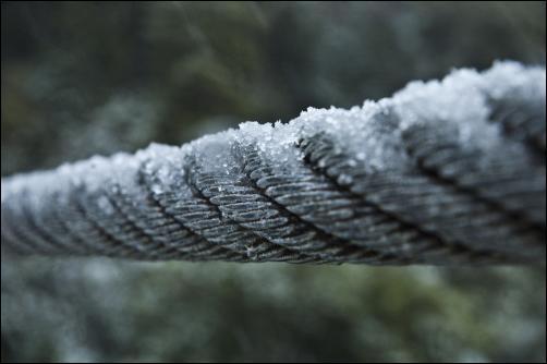 Fence wire - High resolution photos of Wellington snow, Karori. Pictures by Alexander Garside.