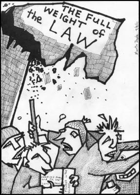 Martin Doyle cartoon Re the London and UK riots – full weight of the law to collapse on looters.