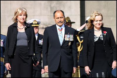 Governor-General Jerry Mateparae, Veterans Affairs Minister Judith Collins. Battle of Britain commemoration 2011, Wellington War Memorial, New Zeland. Photo credit: Al Simonds.