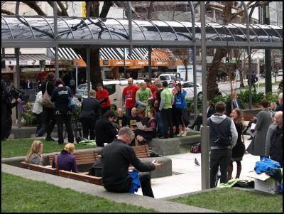 Wellington CBD Wifi launch, cbdfree, Midland Park - Celia Wade-Brown, Brain Phillips of CityLink and Nicky Ashton of Kiwibank.