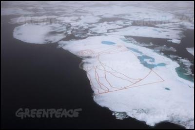 The crew of the Greenpeace icebreaker Arctic Sunrise help artist John Quigley recreate da Vinci's sketch The Vitruvian Man, from copper on the Arctic sea ice.