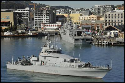 Inshore Patrol Vessel HMNZS ROTOITI berths in Wellington on Friday morning, bringing the number of ships berthed in port to ten.