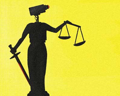 Tim Denee illustration - justice, search and surveillance, rule of law, video, supreme court