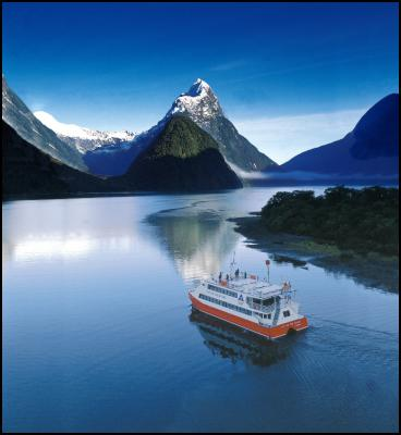 Sinbad Valley to the left of iconic Mitre Peak in New Zealand's Milford Sound
