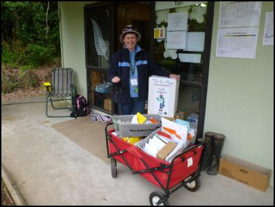 Debbie Cobby, District Co-ordinator, GirlGuiding NZ from Rotorua with the post.