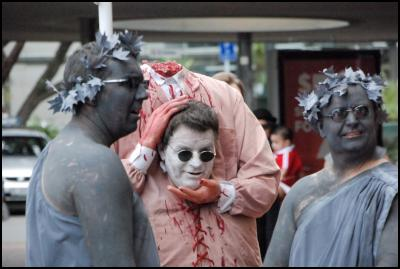 wellington sevens costume, headless man costume, statues