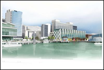 proposed Whitmore Plaza on Wellington waterfront - building from the wharf