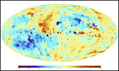 A sky map of the Faraday effect caused by the magnetic fields of the Milky Way. Red and blue colours indicate regions of the sky where the magnetic field points toward and away from the observer, respectively. Image: Max Planck Institute for Astrophysics.