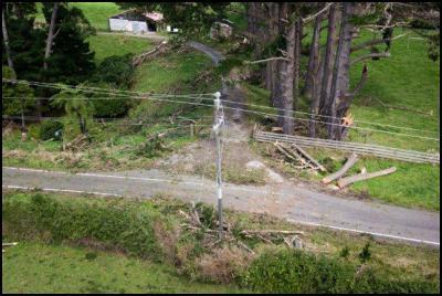 Photos of damage to Powerco's network in South Taranaki following Saturday's storm.