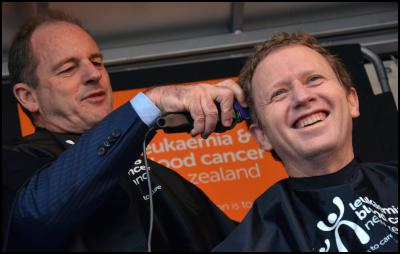 David Shearer, Russel Norman, Shave for a cure, haircut