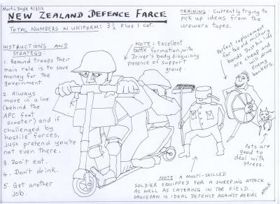 on new zealand defence force cuts – cartoon by martin doyle