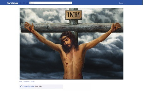 St Matthew-in-the-City's Easter billboard appears to be a traditional image of the crucifixion but upon closer inspection it is a shared image on Facebook with only one like and it is by Judas Iscariot.