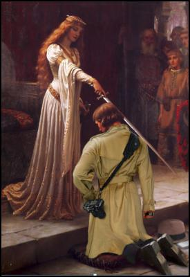 journalism, knighthood, Accolade by Edmund Blair Leighton, patronage