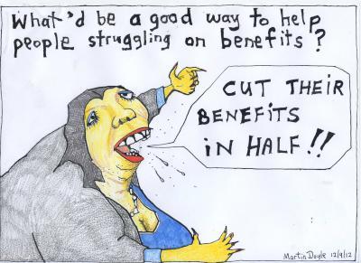 Martin Doyle Cartoon: Cut their benefits in half – on Paula Bennett's welfare proposals