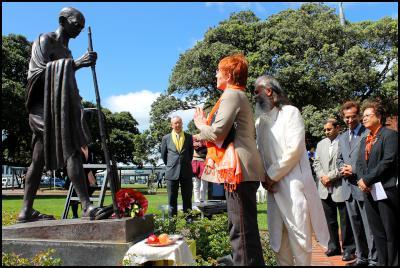 Photos: Al Simmonds. Ghandi Commemoration at Wellington Railway Station - Mayor Celia Wade-Brown, Deputy Mayor Ian McKinnon and the chair of the Commemoration Committee, Shree Naginbhai (Neil) G. Patel