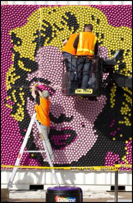 Reproducing a giant version of Andy Warhol's most famous image of a celebrity is no mean feat, especially when it involves almost 4,000 testpots. Paint company Resene is doing its bit for Art Week in Auckland's BIG little City by recreating Warhol's iconic image of Marilyn Monroe, widely considered to be one of the most influential pieces of modern art of all time.