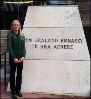 Dr. Holly Thorpe, outside the New Zealand Embassy in Washington D.C. Photo taken by Charles Sneiderman