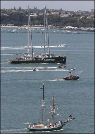 The new Rainbow Warrior sails in to Auckland for the first time, where she was welcomed by Ngati Whatua. The first Rainbow Warrior was bombed in the city's harbour by French secret service agents in 1985. The Greenpeace ship will be spending the next few weeks visiting ports around the country. Photo: Greenpeace/Nigel Marple