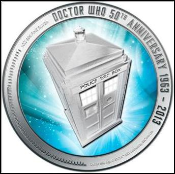 dr who collectable silver coin