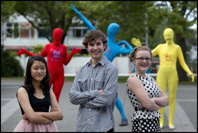 The Big Idea asked for young people aged under 25 to come up with a concept to help transform Christchurch city into a vibrant and youthful place - Harry Loughnan (centre) with the two other finalists, Judy Yun (left) and Grace Lethbridge (right).