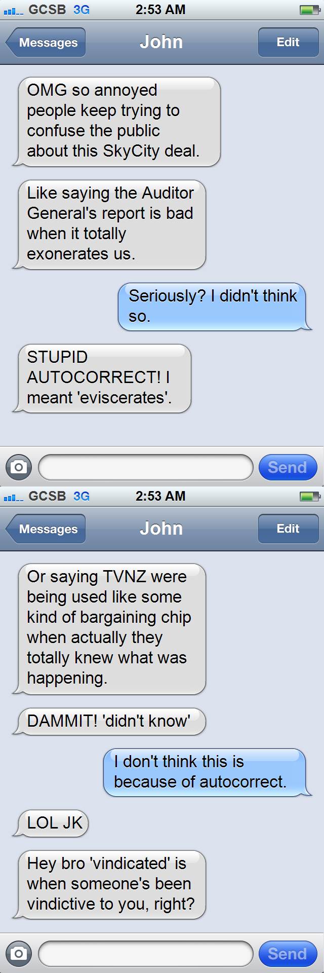John Key iPhone texts: autocorrect, skycity, tvnz