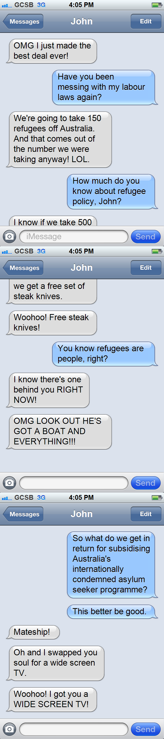 John Key iPhone texts: asylum seekers