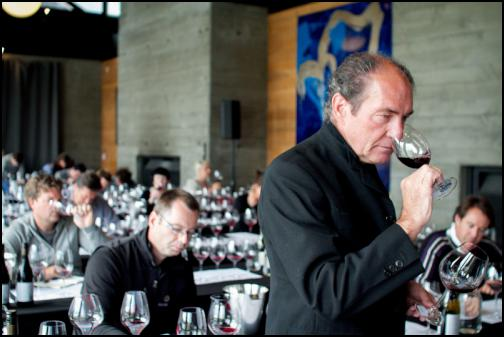 Mr Georg Riedel tastes  a Central Otago Pinot Noir at the glass tasting workshop. Credit Jackie Gay, Still Vision Photography
