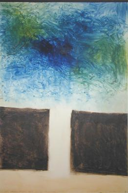 Colin McCahon, - Necessary Protection: Muriwai (blue and brown)