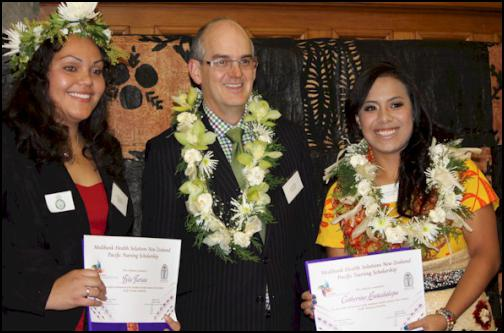 Pacific nurses scholarships awarded - Catherine Latailakepa and Tyla Tariau, Tony Ryall
