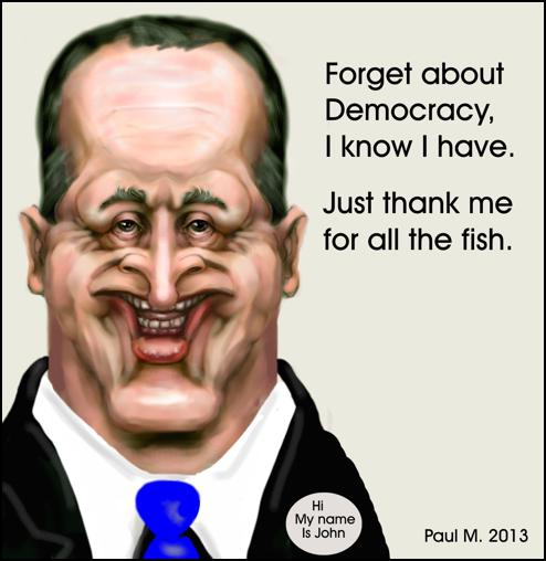 John Key: Forget about Democracy, I know I have. Just thank me for all the fish.