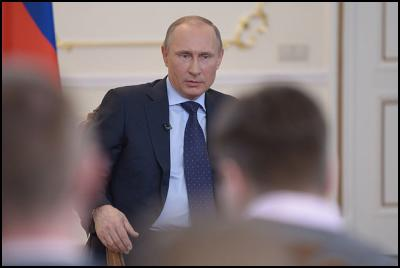 Vladimir Putin at a meeting with media representatives.