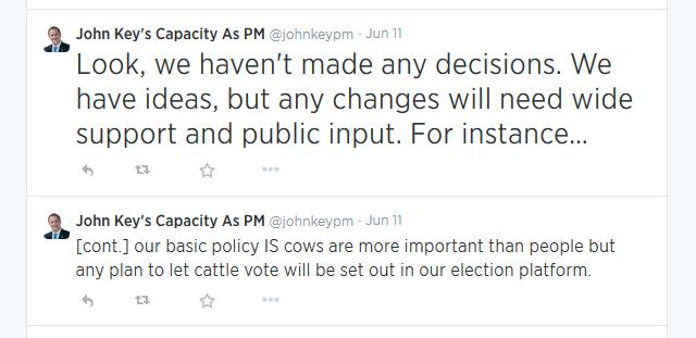 Look, we haven't made any decisions. We have ideas, but any changes will need wide support and public input. For instance…</p> <p>[cont.] our basic policy IS cows are more important than people but any plan to let cattle vote will be set out in our election platform.